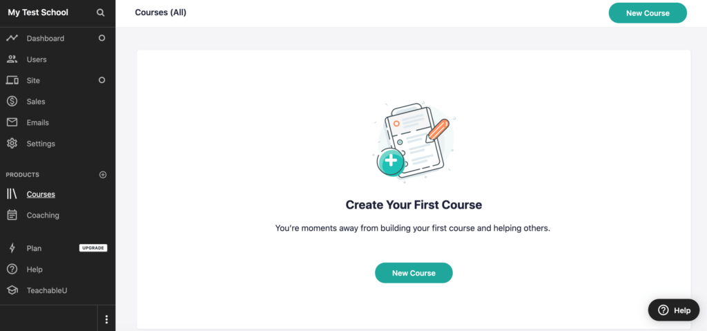 Name your online school, and start creating your courses on Teachable right from your dashboard