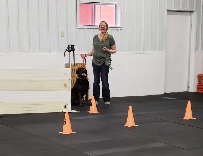 Woman in a dog training class with a black lab