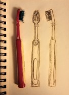 sketch of a toothbrush alongside actual toothbrush