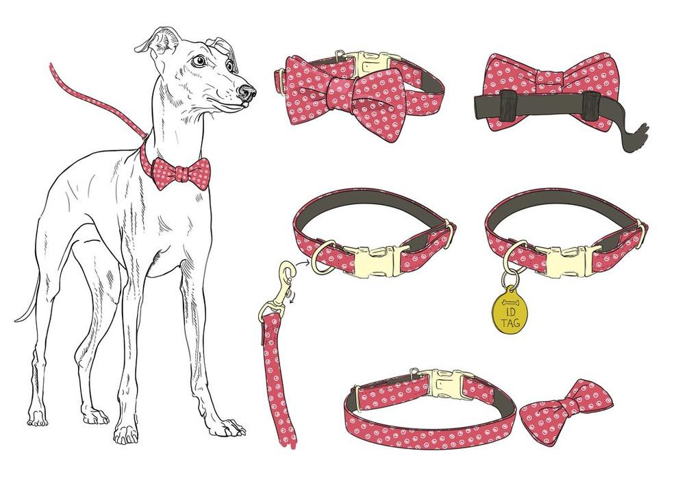 Image of a pencil drawn dog with multiple collars and bow ties.