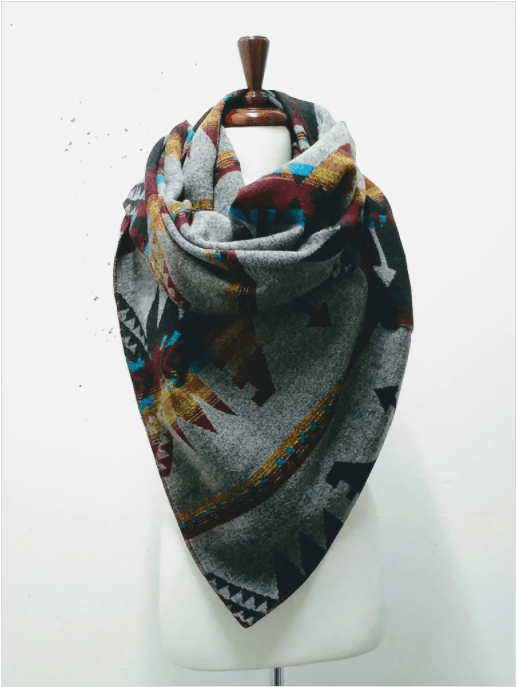 Toronto designed neck scarf on a manakin torso.