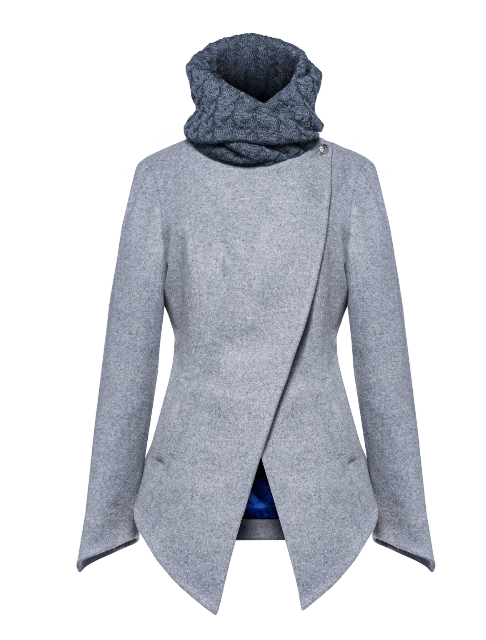 The versatality of blue will let you wear your coat any way you want.