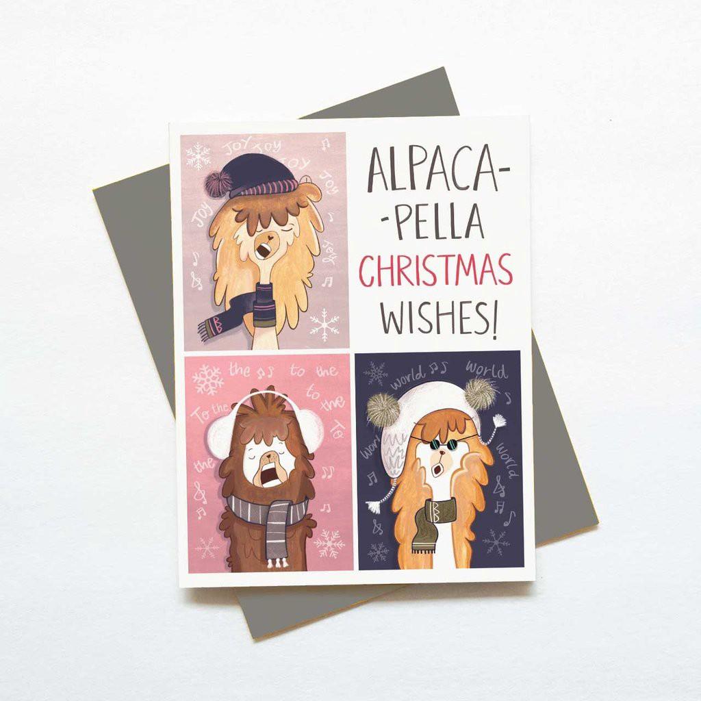Funny alpaca Christmas greeting cards