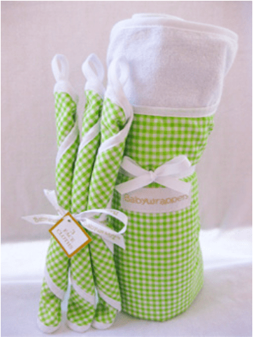 Green bath time baby wrapper