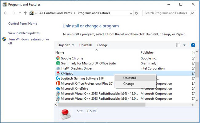 uninstall an error program