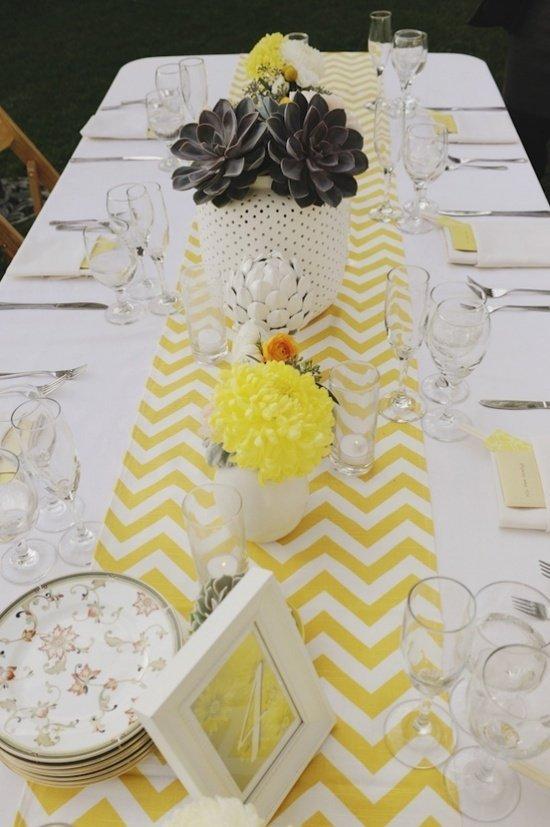 dcoration de mariage jaune et gris  Tendance Boutik