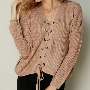 pull rose lacets