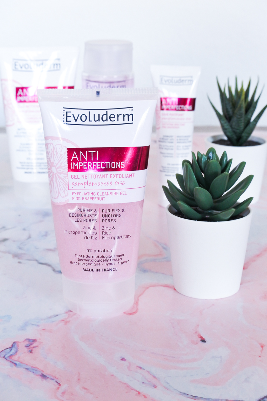 La gamme Anti Imperfections au pamplemousse rose d'Evoluderm