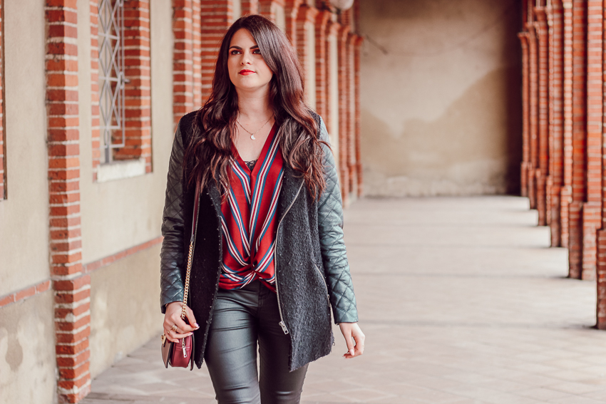 Look n°154 • Bordeaux et cuir
