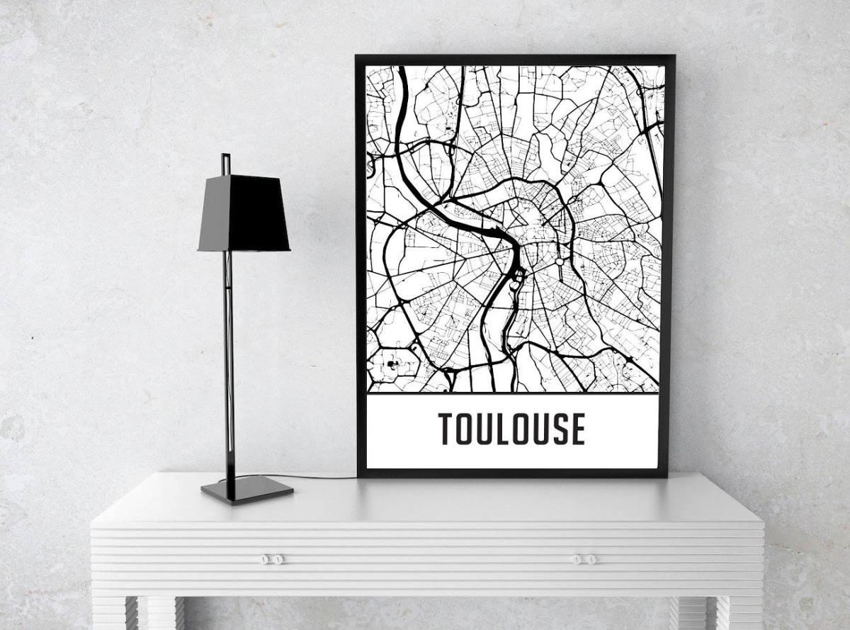 Cadre map de Toulouse - décoration