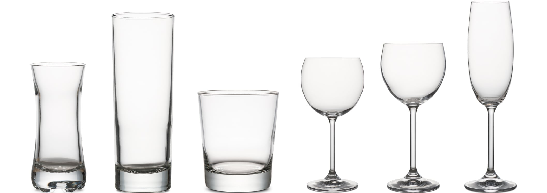 variety of classical glass for wine and water empty, on white background