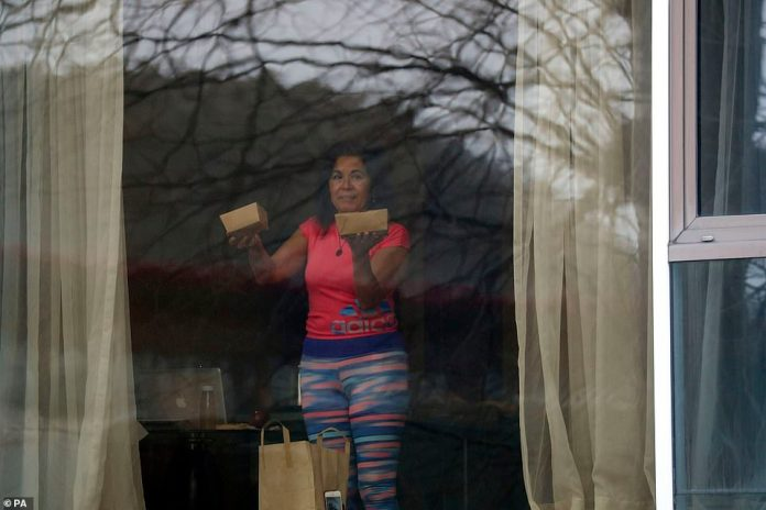 A guest appeared appalled by boxed food she had delivered to her room at the Radisson Blu hotel near Heathrow yesterday
