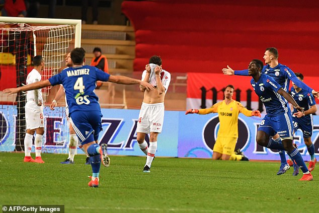His final game in charge at Monaco saw them thumped 5-1 at home by Strasbourg in Ligue 1