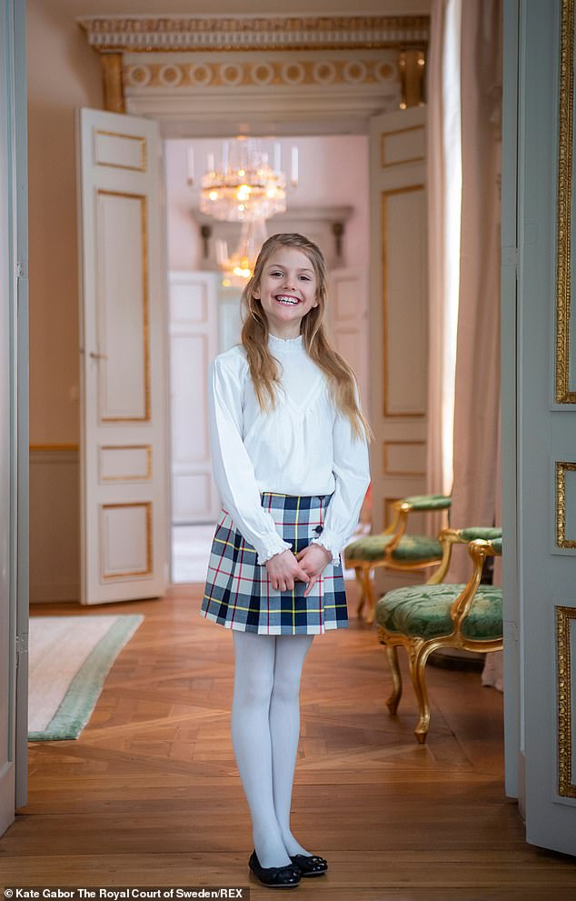 Little princess:The youngest princess is Estelle, who last month celebrated her ninth birthday