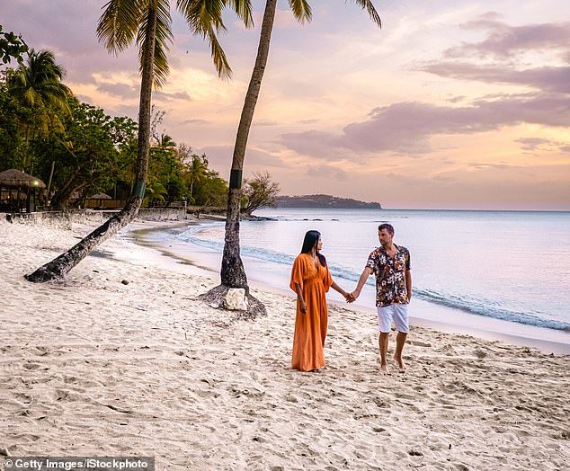 The ban on foreign holidays is on track to be lifted on May 17, Downing Street said last night, with travel opened up to as many as 30 countries. Pictured:Saint Lucia in the Caribbean