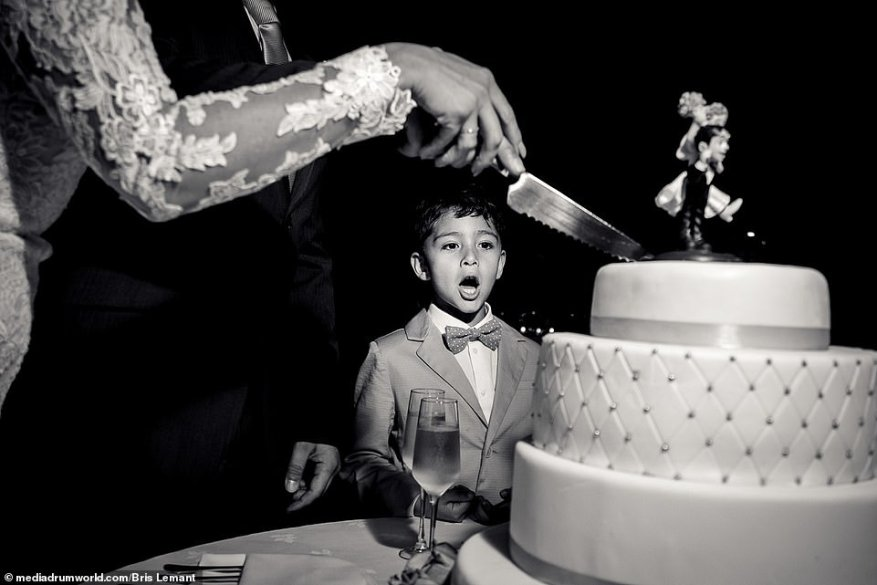 Eyes on the prize: Proving that brides and grooms are not the only focus of wedding photography, this image by Spain-based snapperBris Lemant captures a sweet young boy watching on as a couple's cake was sliced - clearly eager for his piece