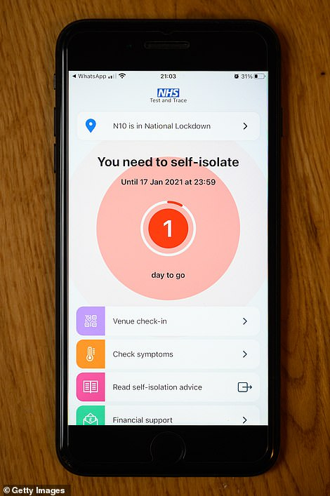 NHS Covid app (pictured) will not be made less sensitive for weeks, reports say