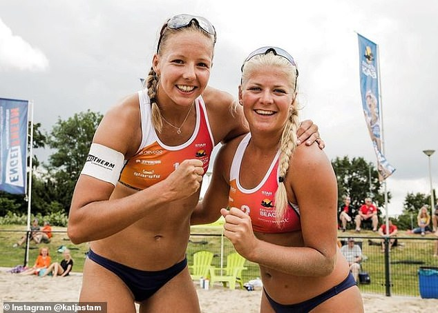 Representing the Dutch nation are Katja Stam, 22, who stands at a majestic 6ft 2in, and 19-year-old outside hitter Raïsa Schoon, pictured in June at the Continental Cup