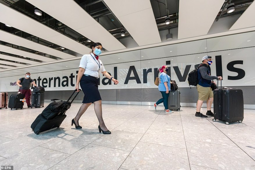 Mr Johnson yesterday abandoned plans to introduce a new 'amber watchlist' after warnings it would have further decimated the struggling travel sector. Heathrow Airport is pictured yesterday