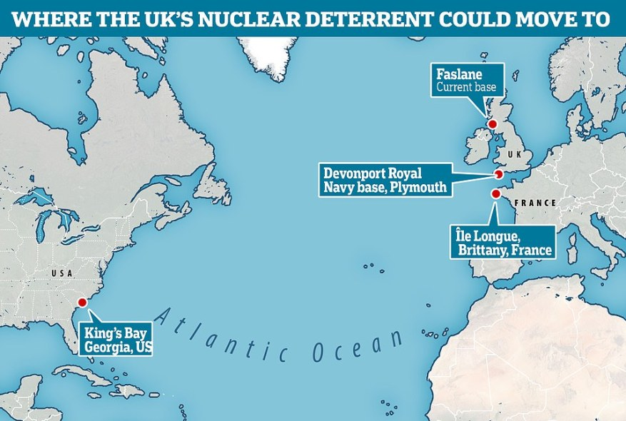 If Britain were to move its nuclear submarines, they could be based in Brittainy, northern France, or even the US