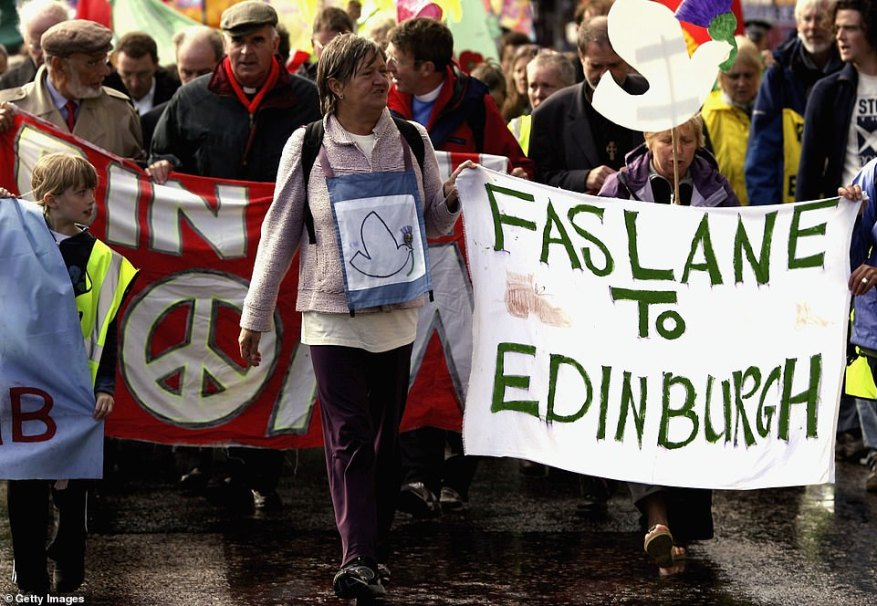 The decision to place nuclear weapons on UK territory met fierce opposition from anti-nuclear campaigners. Hundreds of protests have taken place in the decades since the weapons arrived. Above:Anti-nuclear demonstrators march through Edinburgh in 2006
