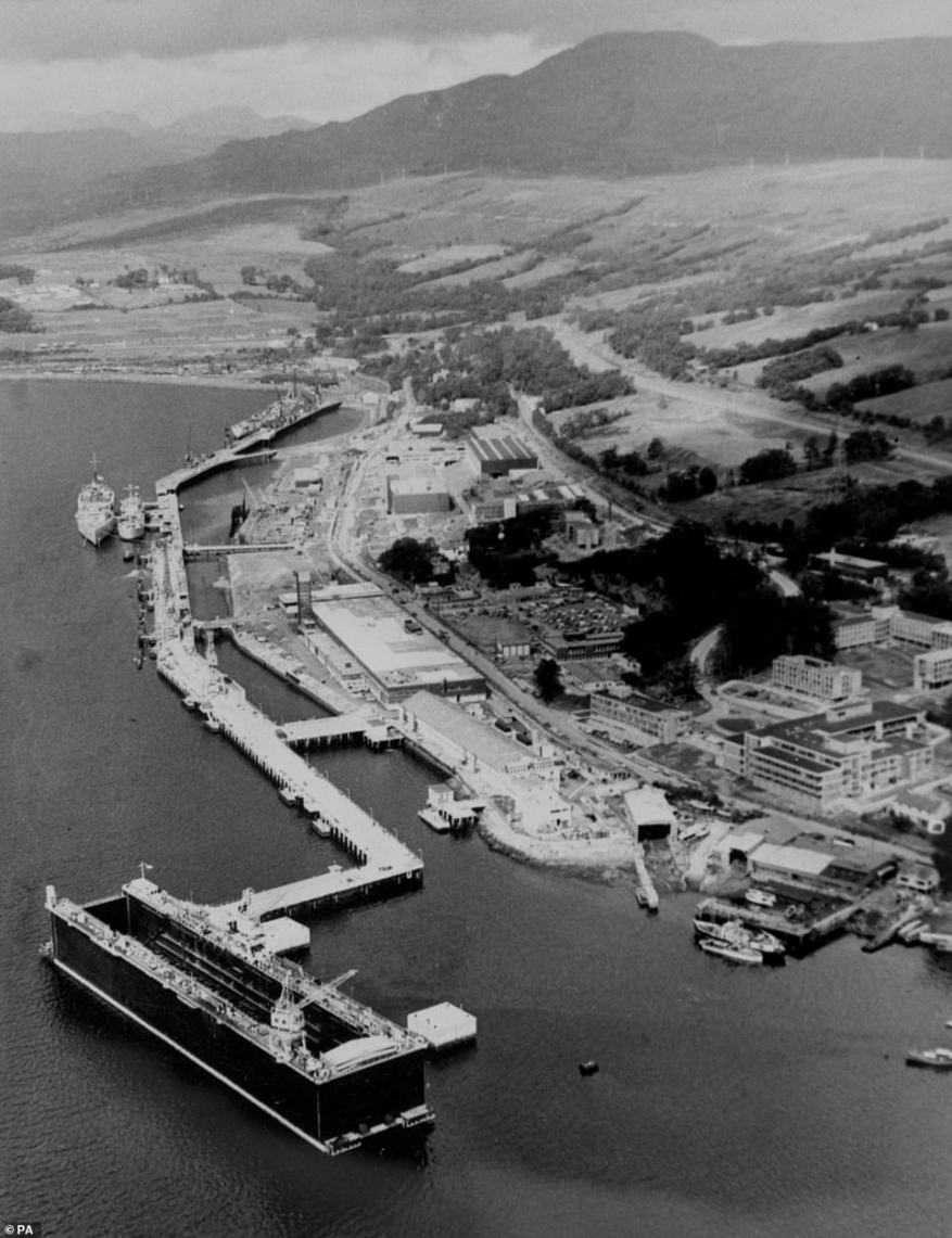 Faslane's long and controversial link with nuclear weapons began in 1968, after navy chiefs and politicians had made the decision that the UK should have its own lethal deterrent amid the threats posed by the Soviet Union during the Cold War. Above: The base in 1967