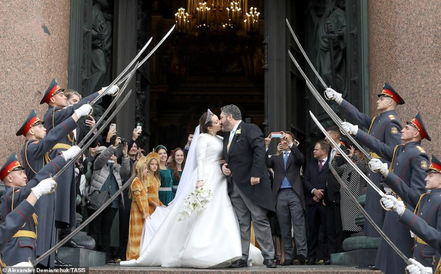 he wedding of Grand Duke George Mikhailovich of Russia, a descendant of the Romanov dynasty, and Rebecca (Victoria) Bettarini of Italy at St Isaac's Cathedral.