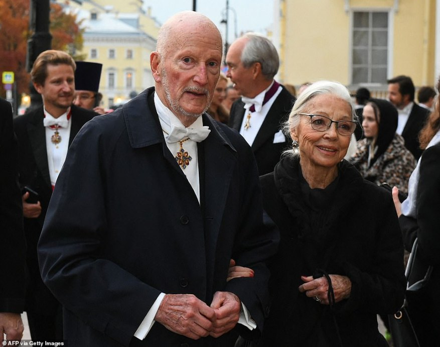 Former Bulgarian King Simeon II and his wife Margarita arrive to attend a dinner during the wedding of Grand Duke George Mikhailovich Romanov, and Victoria Romanovna Bettarin