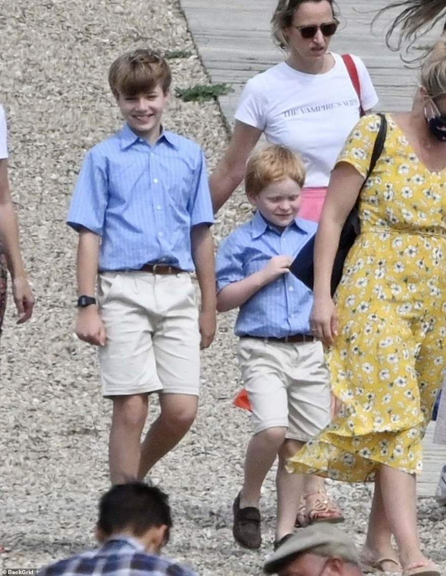 Roles: Elizabethwas joined on location by actors Timothee Sambor, 11, (left) and Teddy Hawley, seven, (right) who play Prince William and Prince Harry, respectively