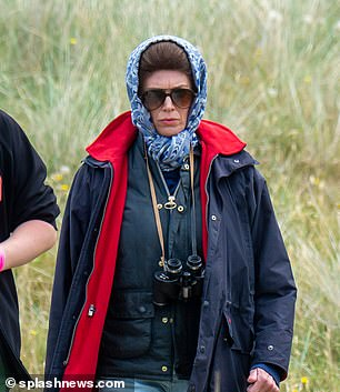 Who's who? The actress playing Princess Anne in The Crown's fifth season has been revealed as The IT Crowd and Humans star Claudia Harrison (seen filming in Scotland this week)