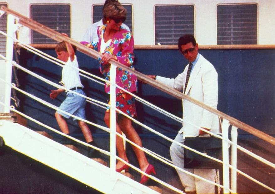 Way back when:The cast appeared to be recreating a family holiday taken by the royals a year prior to Charles and Diana's divorce in 1992 in which they enjoyed a trip aboard the 400ft yacht Alexander