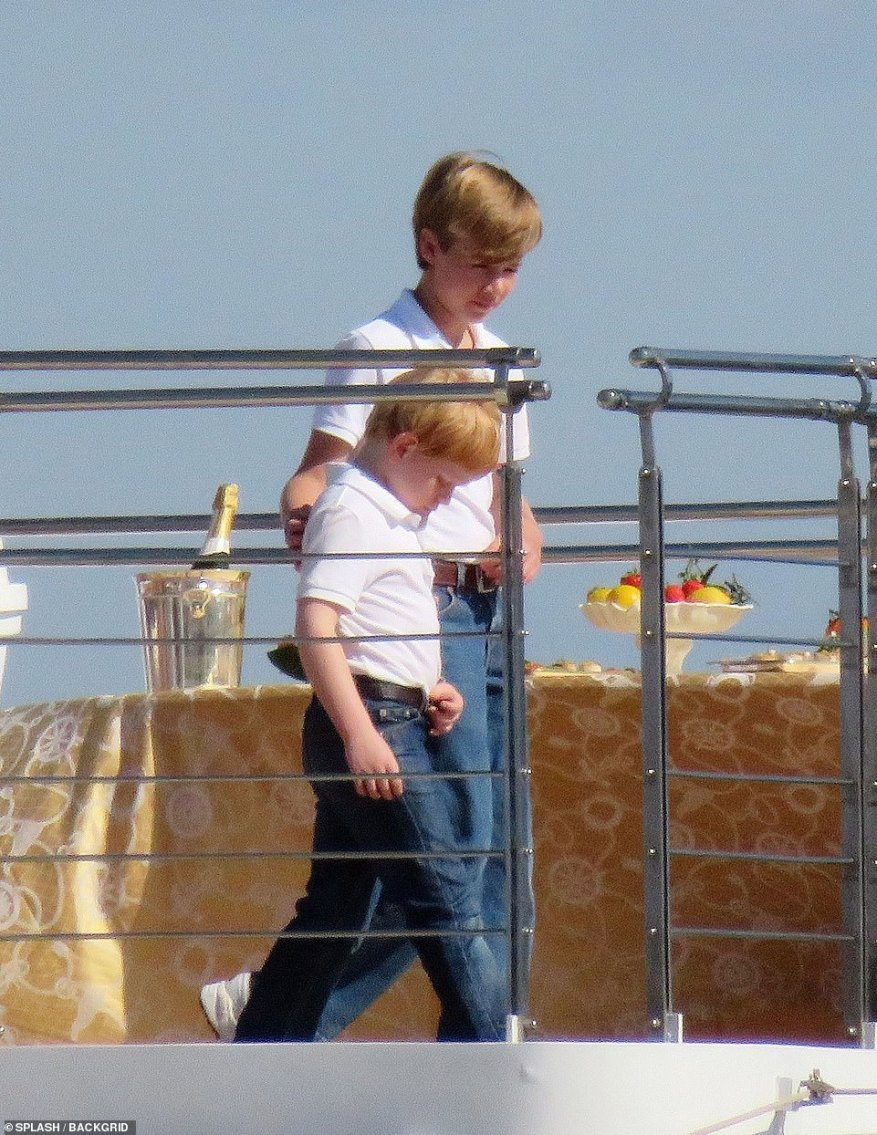 Family trip: Prince Harry and Prince William accompanied their parents on the yacht