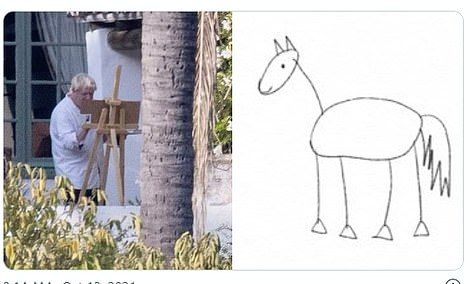 With that painting's subject yet to be revealed, dozens of Twitter users spent their time pondering what the Prime Minister's artwork could be including this horse
