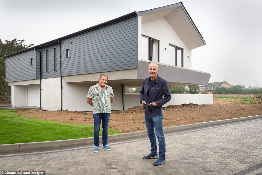 Geoff (pictured left, with Kevin McCloud, right) saw no risk in sinking every penny he had into his unusual building and moved into a small caravan on site