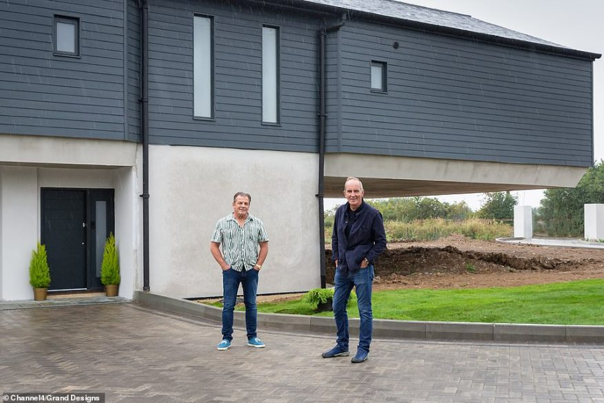 The plot of watery wilderness was an empty canvas on which Geoff could paint a new life and was an impressive 7 and a half acres big, Pictured, the exterior of the finished build
