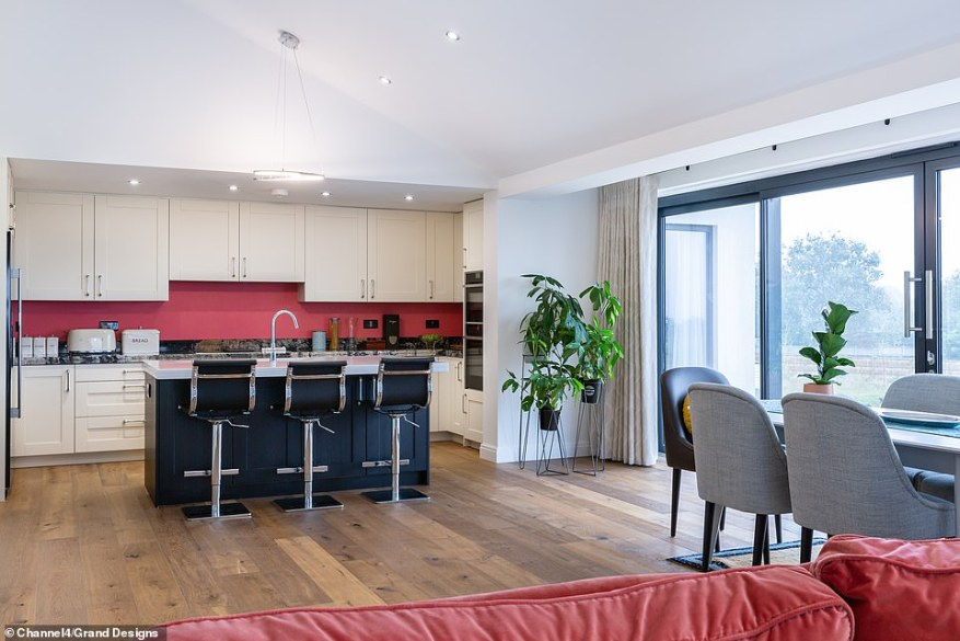 Geoff said that he had enough money to start the project but to finish it, he would have to sell his villa in Spain. Pictured, the finished kitchen