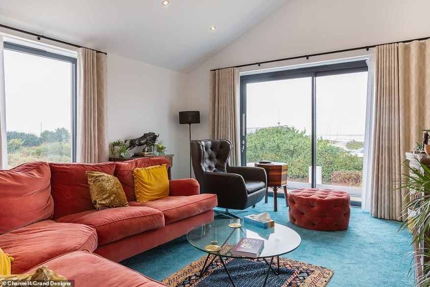 After seeing the complete living room (pictured), a shocked Kevin said: 'I'm loving the carpet and sofa combination, Geoff. You're a man of interesting tastes'