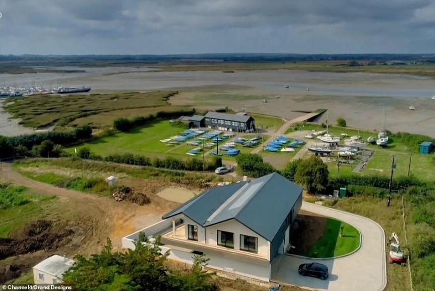 Geoff planned to build a flood resistant architectural marvel on the Essex coast budgeted at a whopping £700,000. Pictured, the exterior and estuary views