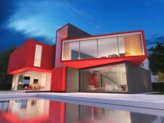 casas colores casa fachadas modern exteriores moderne moderna maison roja rouge modernas fachada arquitectura vermelha render hogar odin inspection modernes