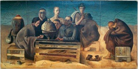 3-N60-T4 Felix Nussbaum, Gefangene in Saint-Cypr. Nussbaum, Felix 1904-1944. 'Gefangene in Saint-Cyprien (3)', 1942. Oel auf Leinwand, 68 x 138 cm. Osnabrueck, Kulturgeschichtliches Museum. E: Felix Nussbaum /Prisoners in Saint-Cypr. Nussbaum, Felix 1904-1944. 'Gefangene in Saint-Cyprien (3)' (Prisoners in Saint-Cyprien (3)), 1942. Oil on canvas, 68 x 138cm. Osnabrueck, Kulturgeschichtliches Museum. F: Felix Nussbaum/Prisonniers Saint-Cyprien Nussbaum, Felix 1904-1944. - 'Prisonniers a Saint-Cyprien (3)', 1942. Huile sur toile, H. 0,68 , L. 1,38. Osnabrueck, Kulturgeschichtliches Museum.