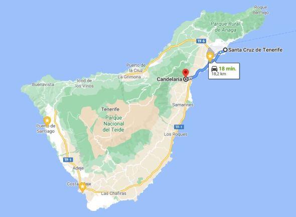 Kort af Tenerife