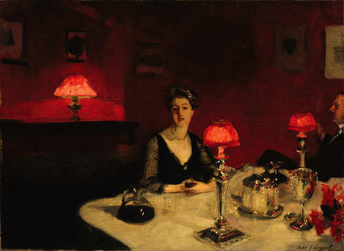 john singer sargent: a dinner table at night