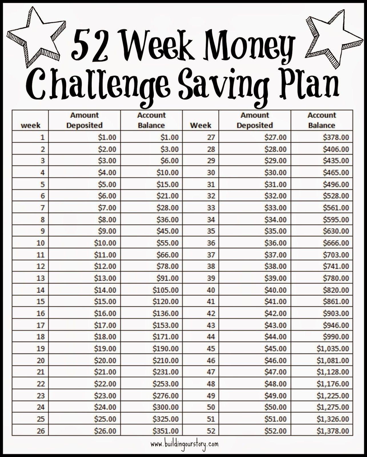 Free Printable 52 Week Calendar
