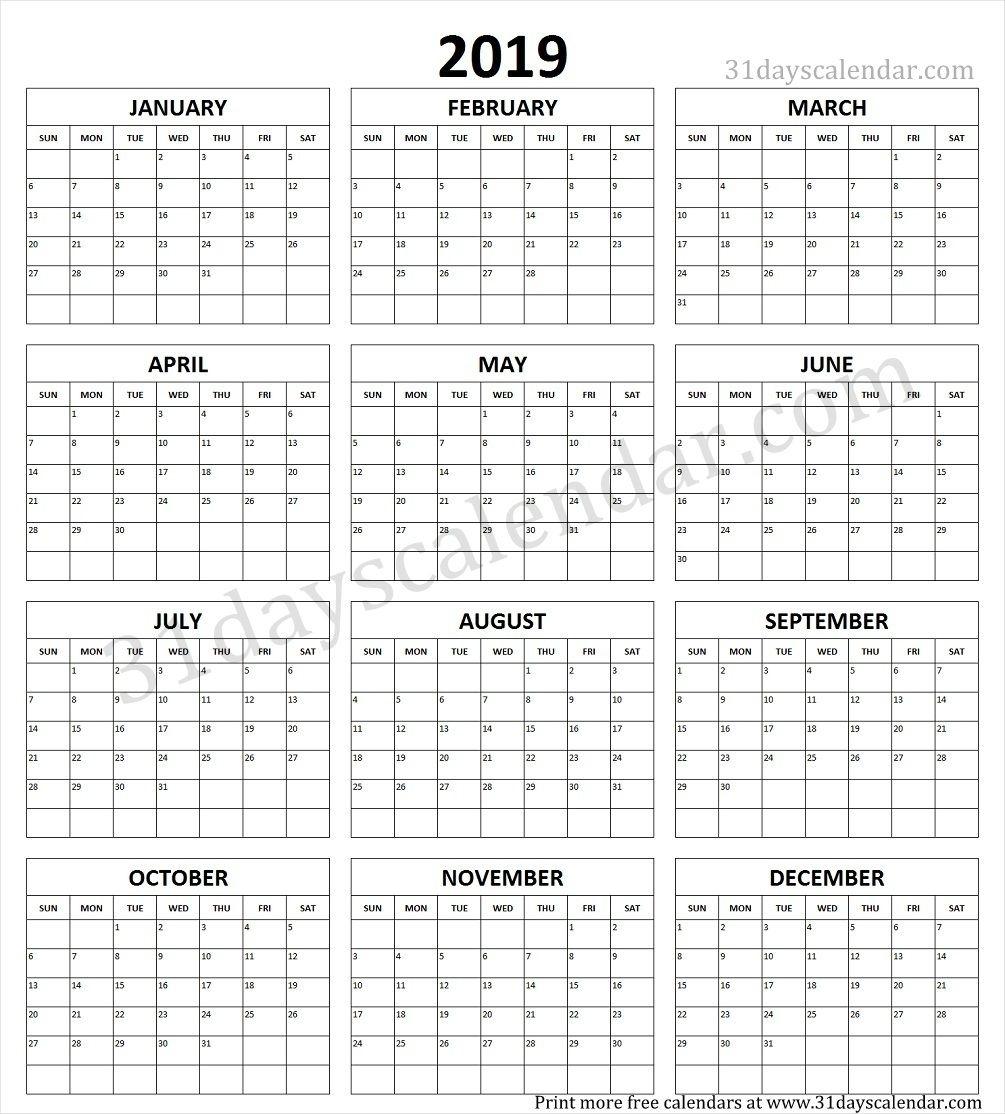 Year Calendar 1 Page | Ten Free Printable Calendar 2020-2021