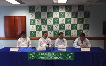 El equipo uruguayo en la conferencia de prensa