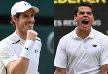 Andy Murray y Milos Raonic en la final de Wimbledon