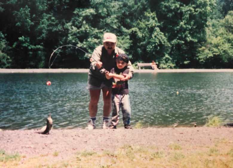 Brian Gabriel Canever - Discovering Peace Through Tenkara - My Dad and I at a stocked trout pond