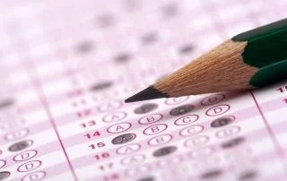 optical form of an standardized testing form of an examination with pencil