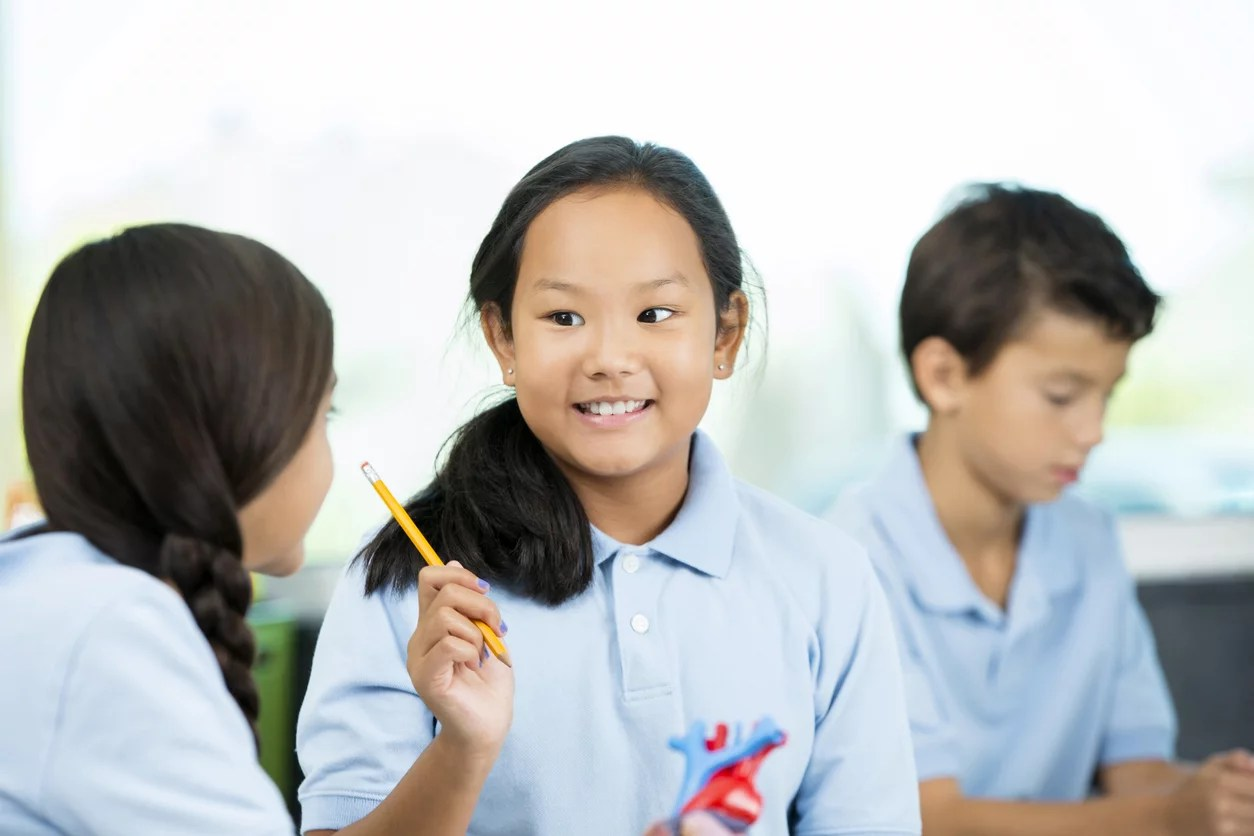 A confident, school age Asian female student talks to her Hispanic classmate. International students work together on a science project in class. They are studying a model of the human heart at a private school