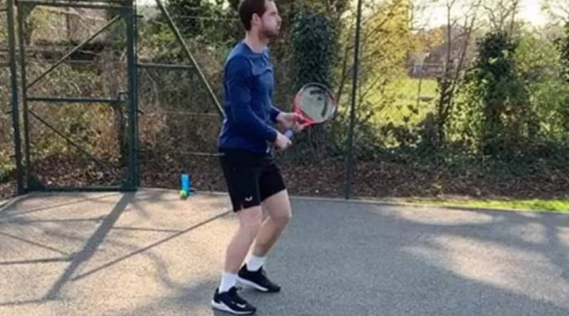 Andy Murray first hits after the surgery